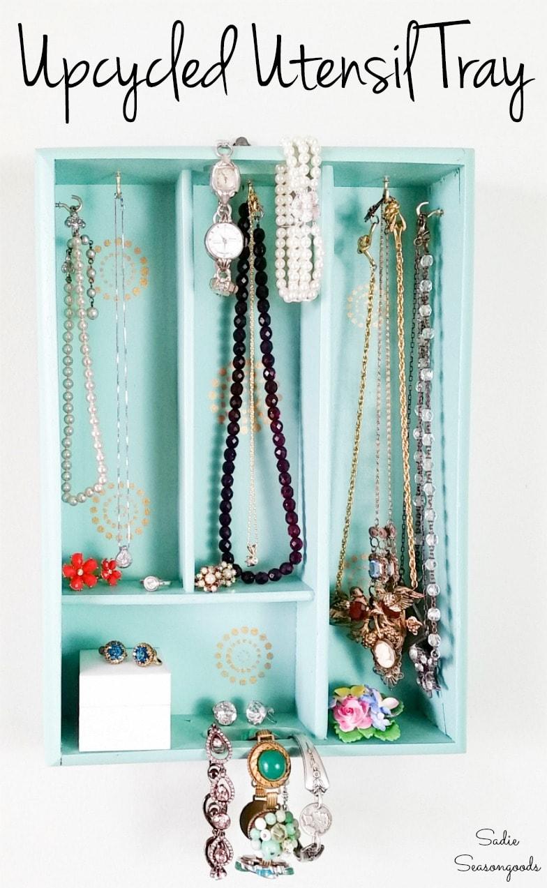 Utensil tray as Boho storage for jewelry