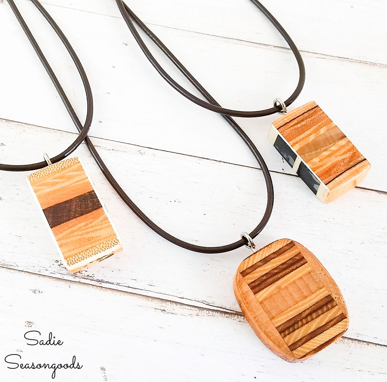 Wooden Pendant Necklace from Old Tennis Rackets