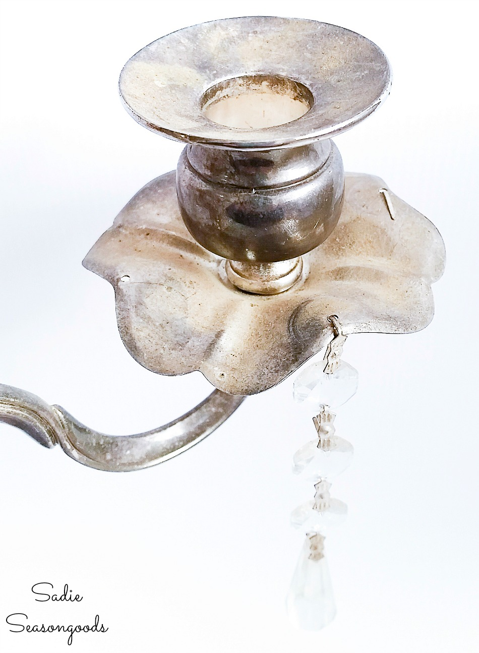 Cleaning a vintage candelabra for an upcycling idea for jewelry storage
