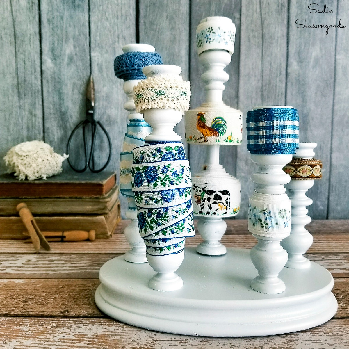 Ribbon Organizer with Wooden Candlesticks from the Thrift Store