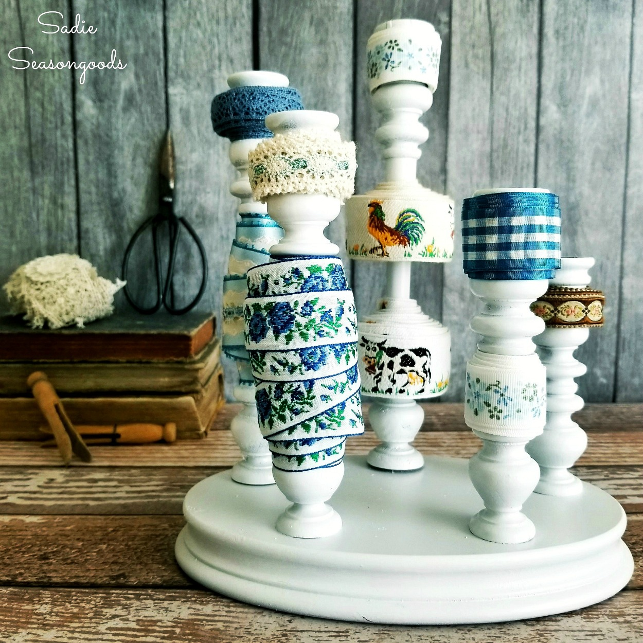 Ribbon Organizer with a Wooden Candlestick / Candle Holders
