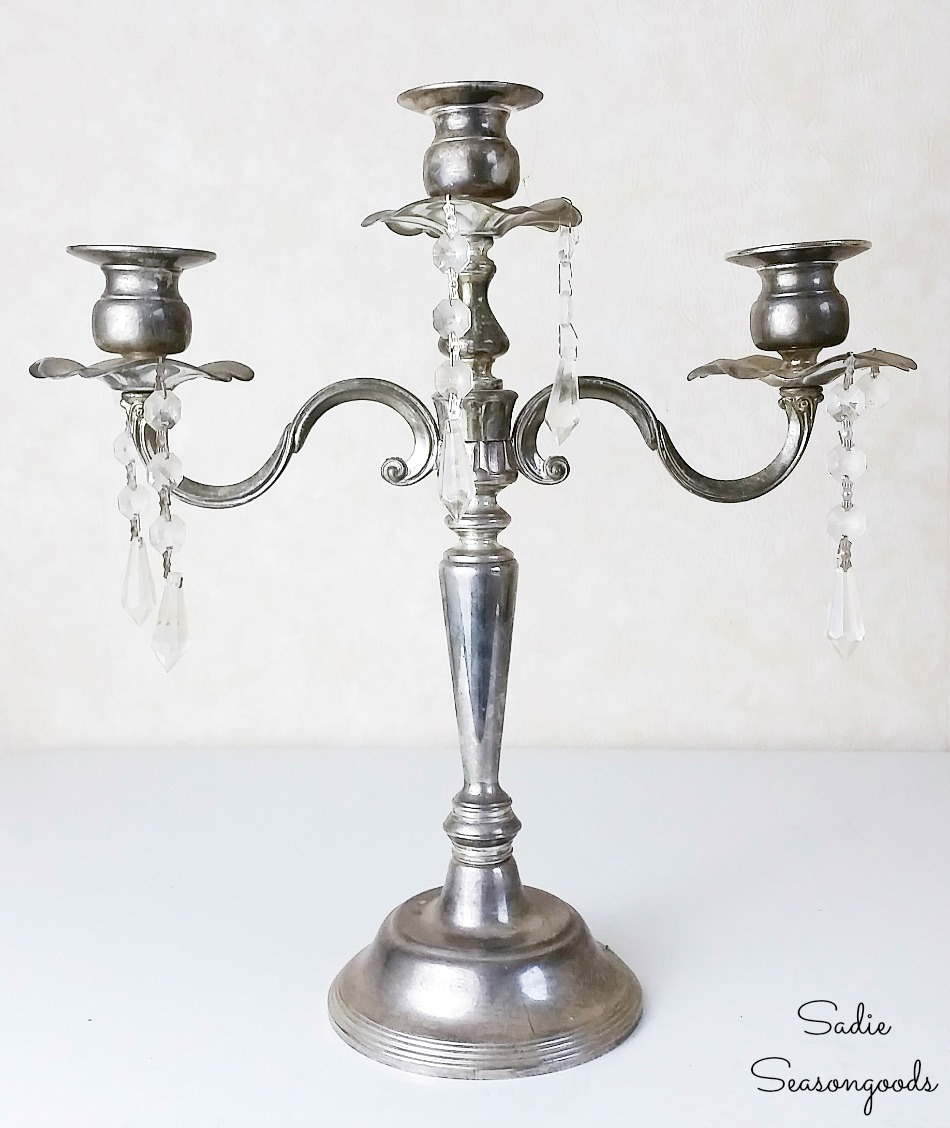 Silver candelabra from the thrift store for upcycling as a jewelry tree