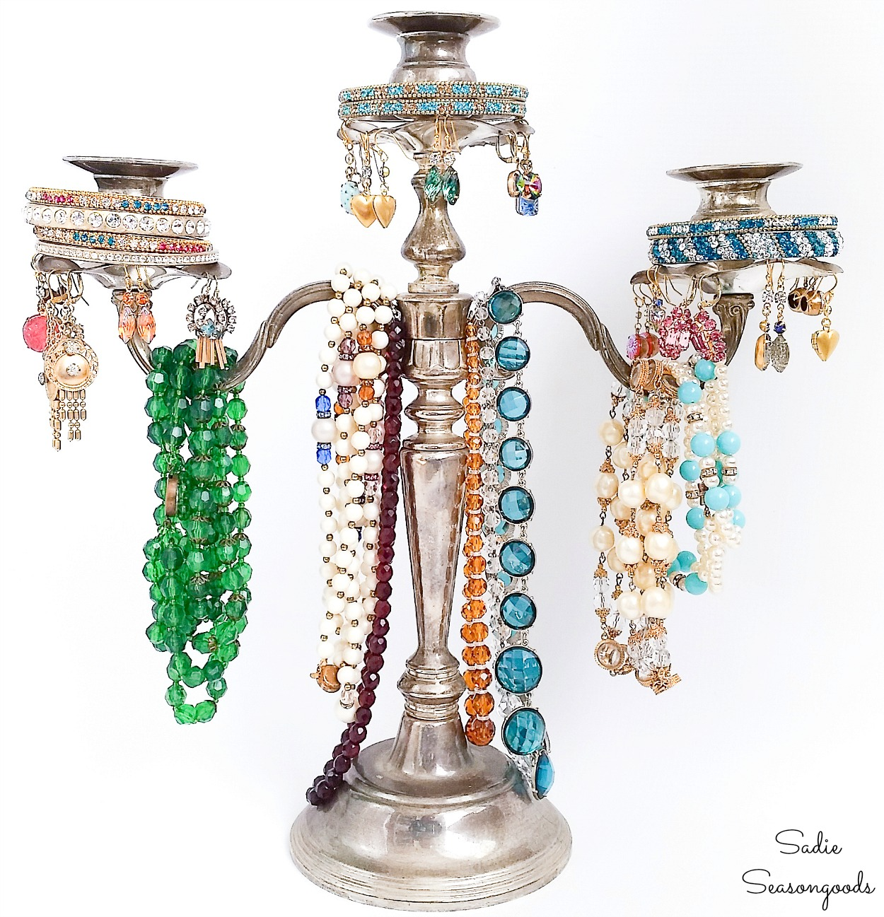 Repurposing a Silver Candelabra into a Jewelry Tree