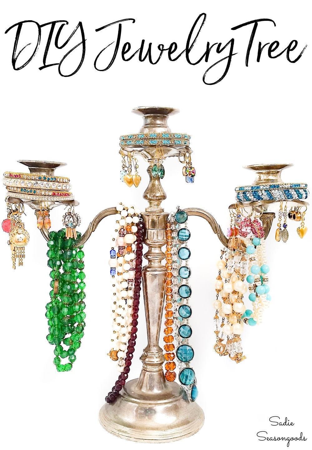 jewelry tree organizer from a silver candelabra