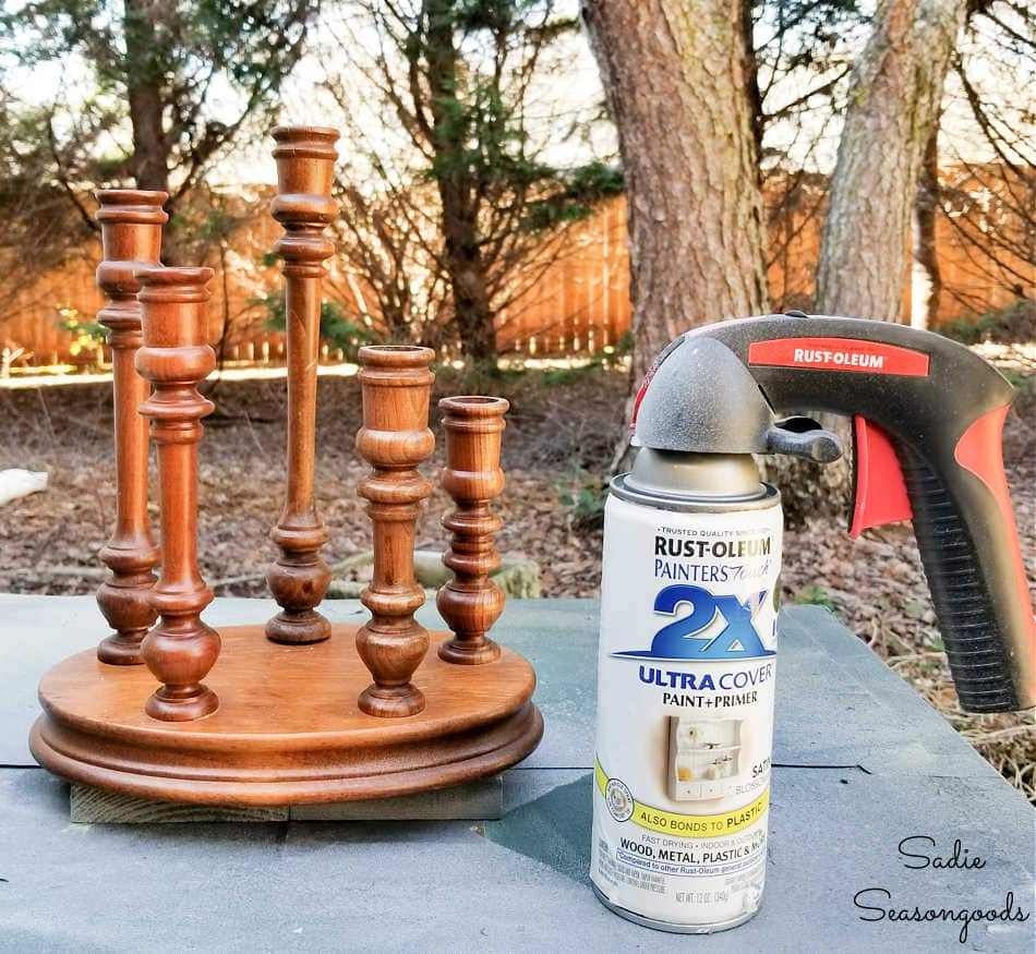painting a wooden candelabra