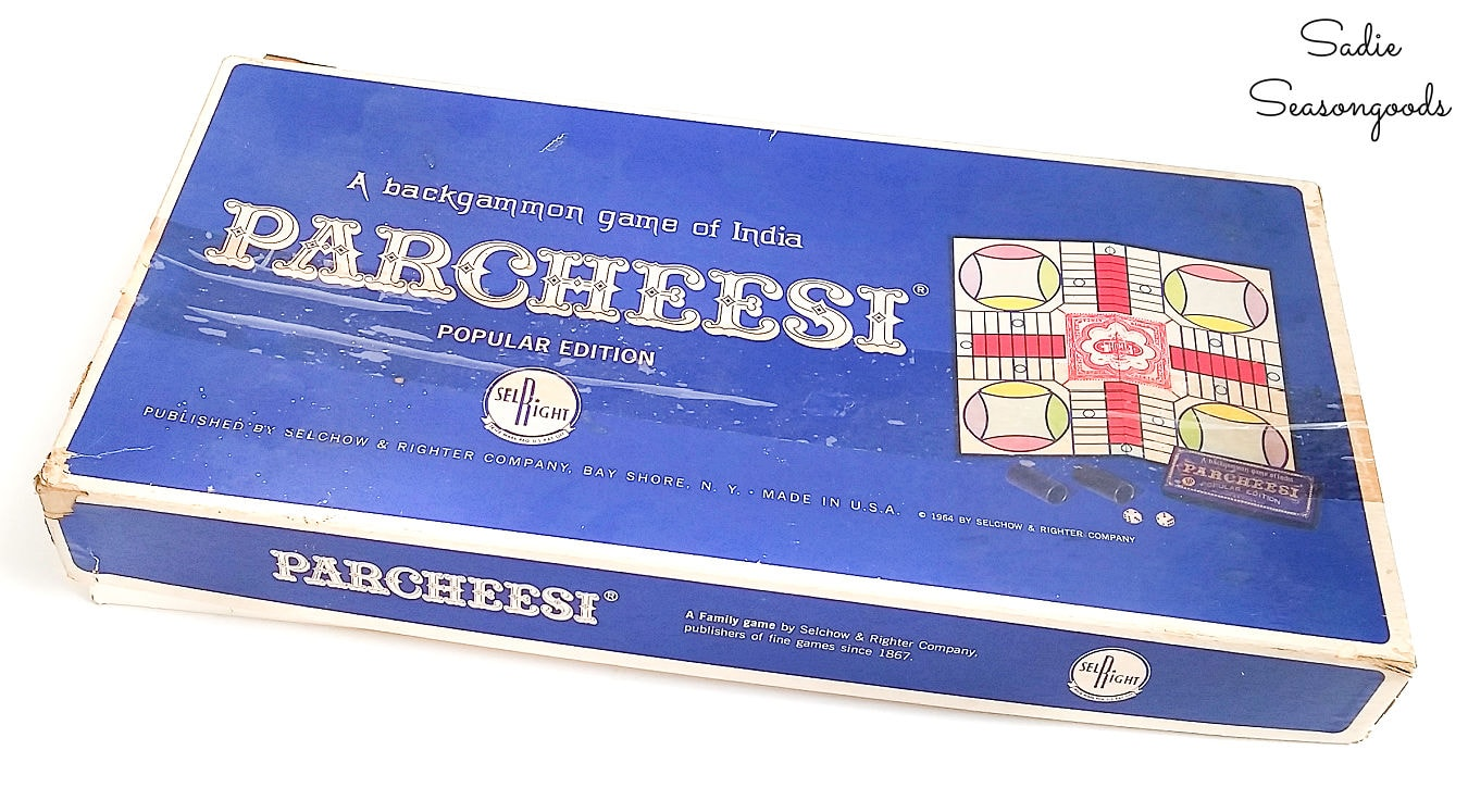 Vintage edition of Parcheesi for upcycling crafts