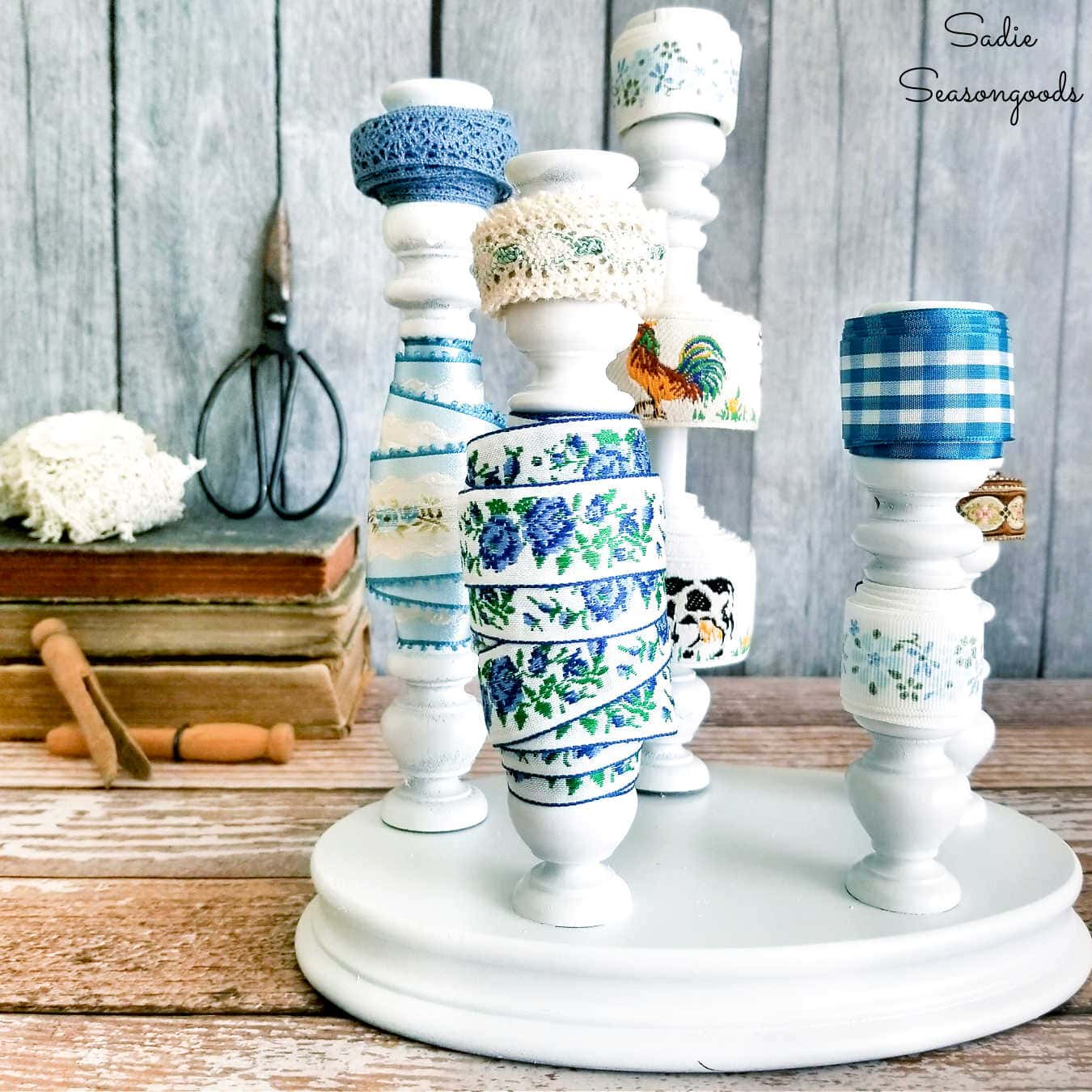 Ribbon Organizer from a Wooden Candelabra
