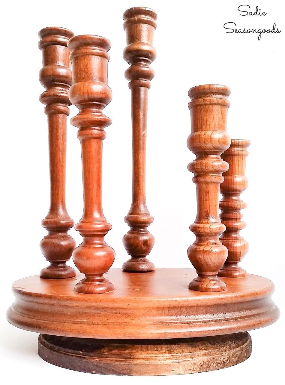 wooden candelabra as a lazy susan
