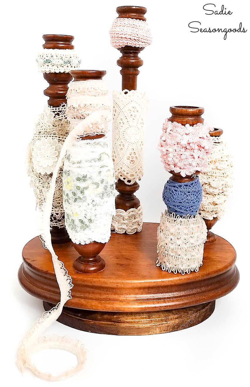 wooden candelabra as a ribbon organizer
