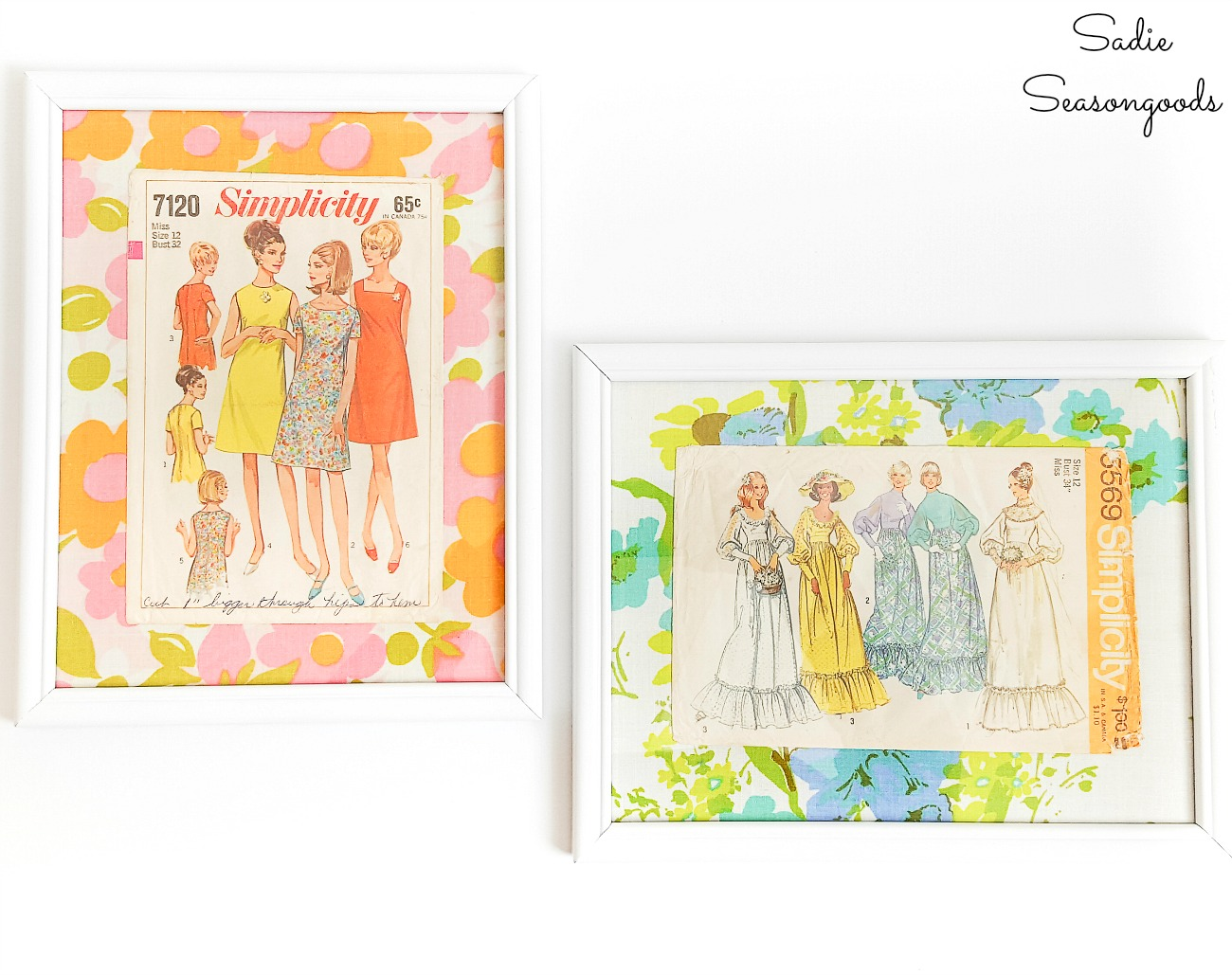 Envelopes of vintage dress patterns as sewing room decor