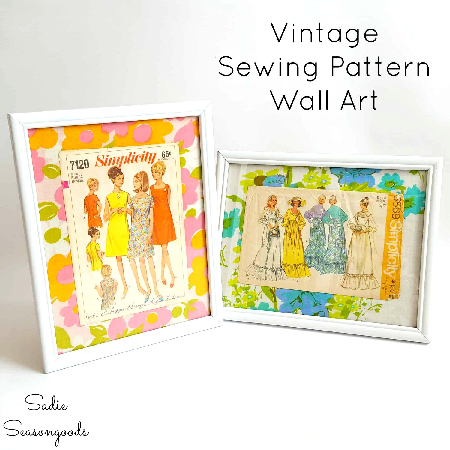Framed Wall Art for a Craft Room using Vintage Sewing Patterns