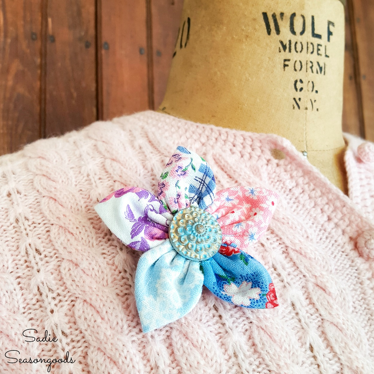 Lapel flower or cloth flowers with flour sack fabric