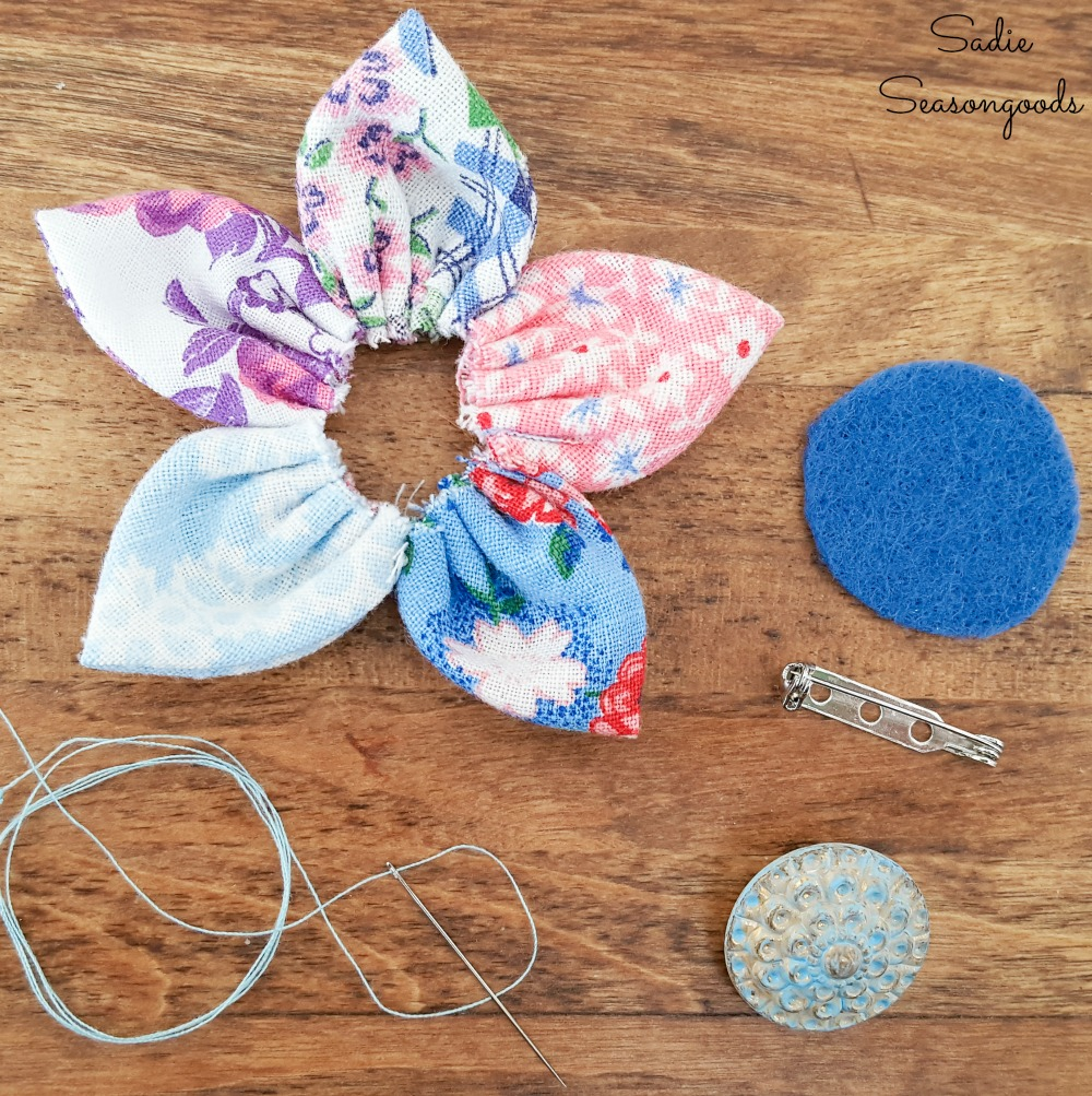 Vintage buttons as the center of a lapel flower