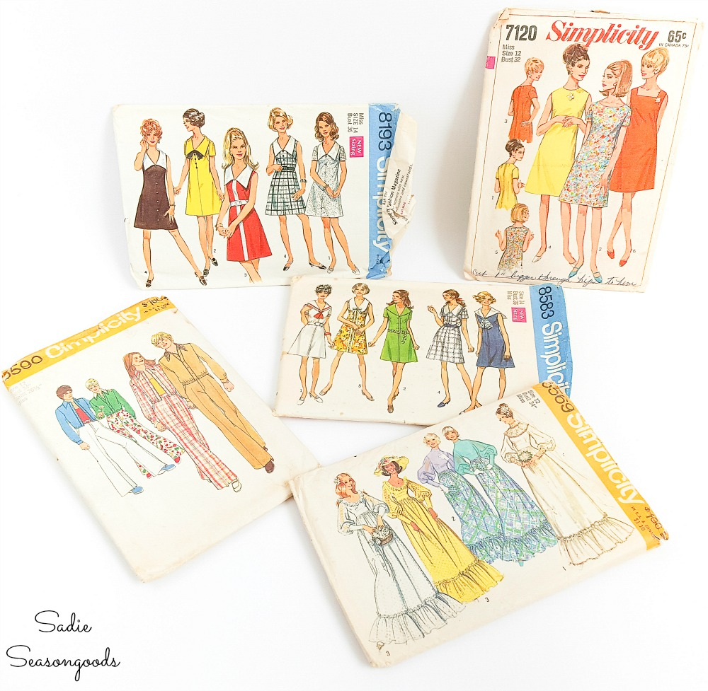 Vintage dress patterns for upcycling as fashion wall art