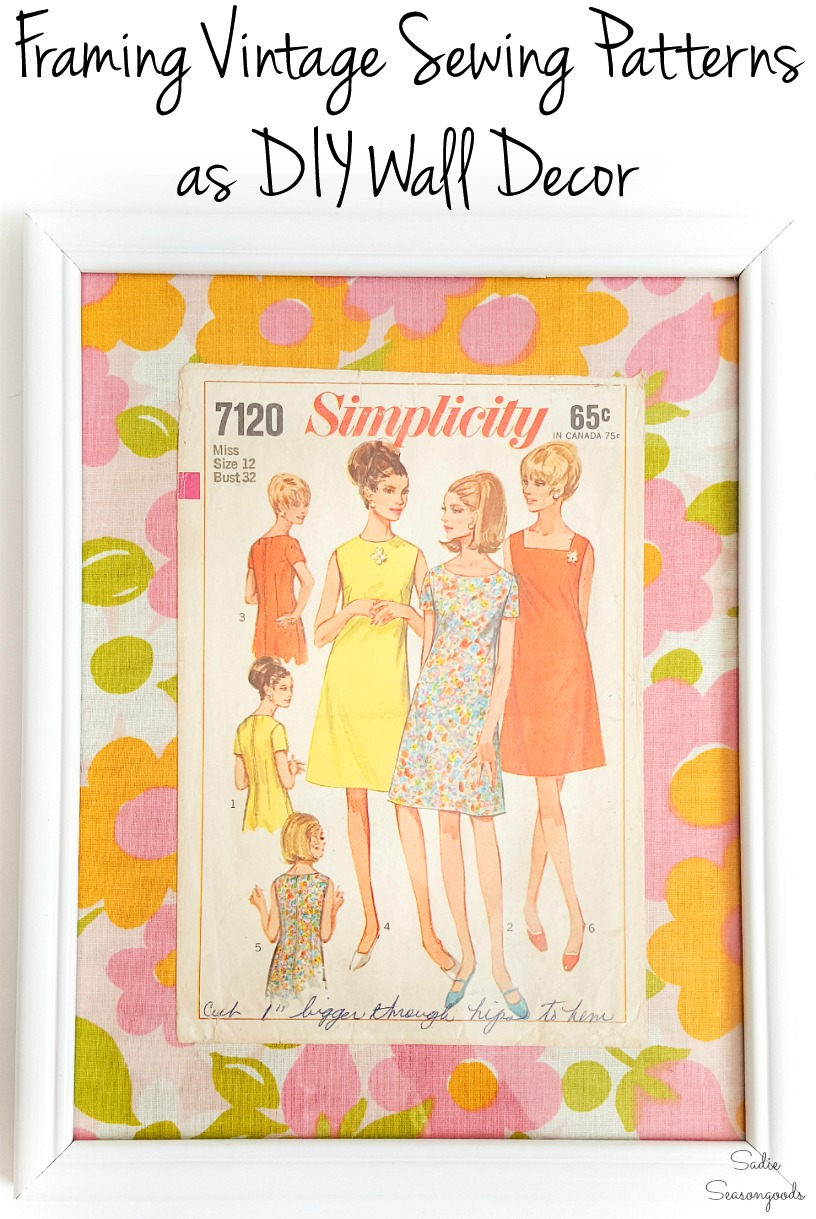 Vintage sewing patterns as fashion wall art for sewing room decor