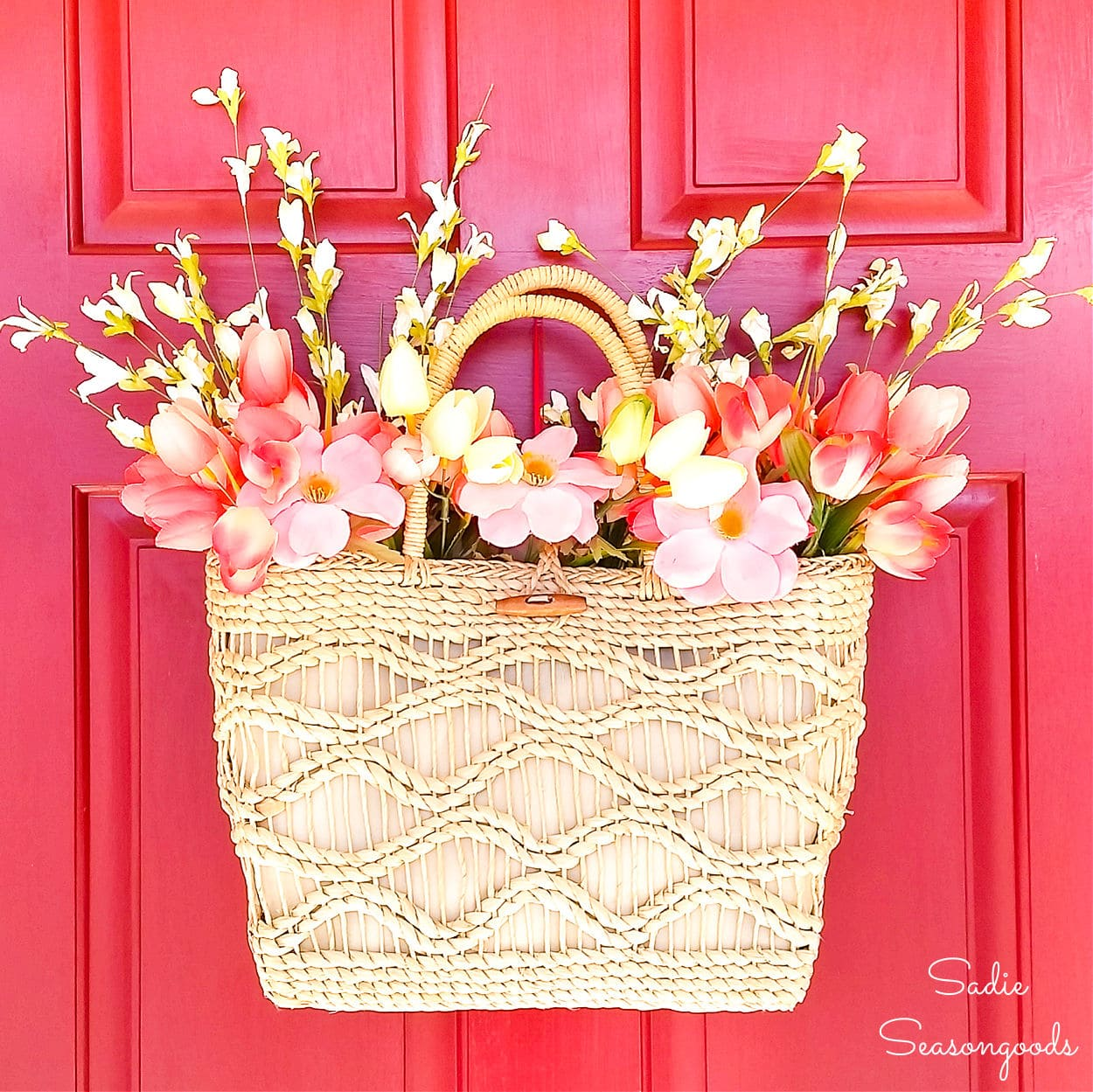 Spring Door Decor from a Straw Purse