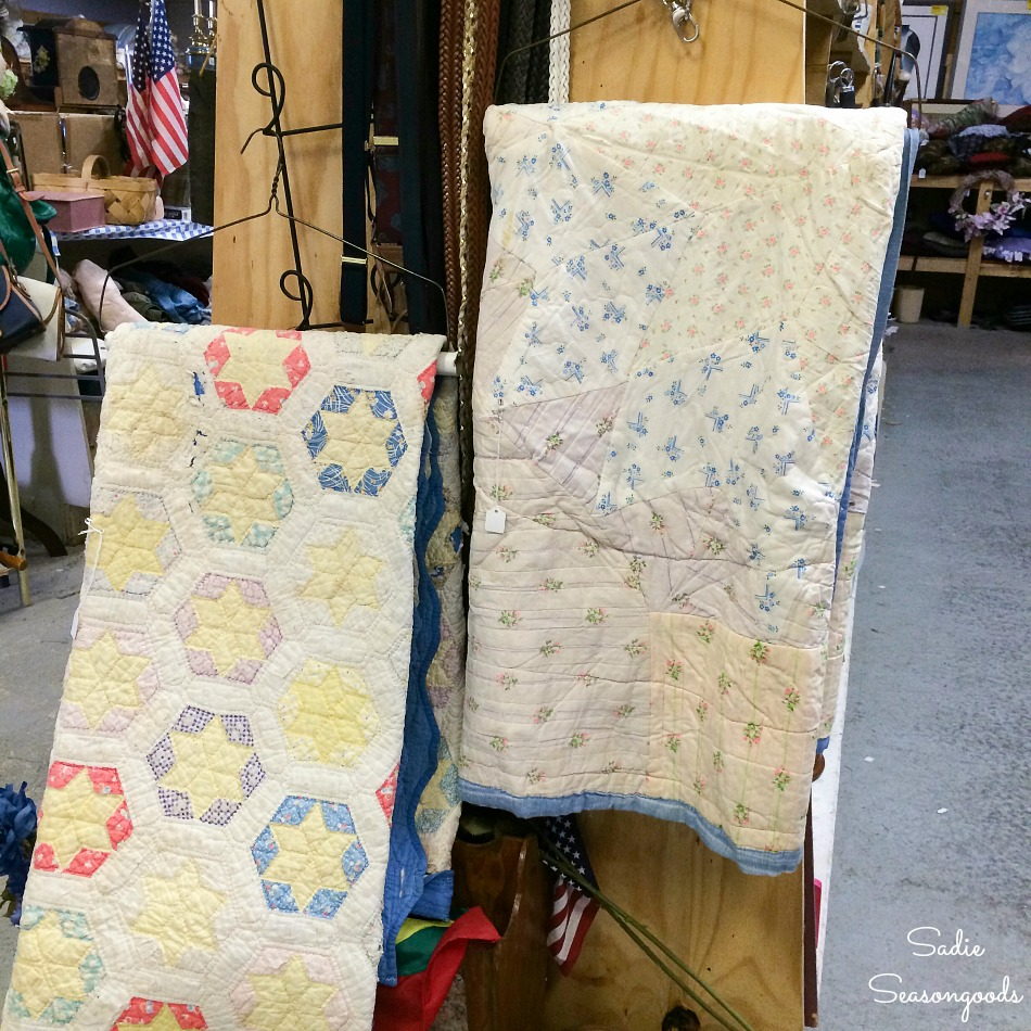 Antique quilts or vintage quilts at a thrift store