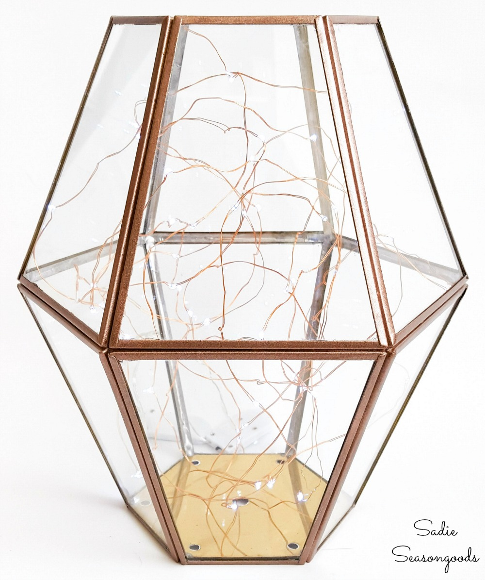 Firefly lantern with upcycled lighting from Habitat ReStore