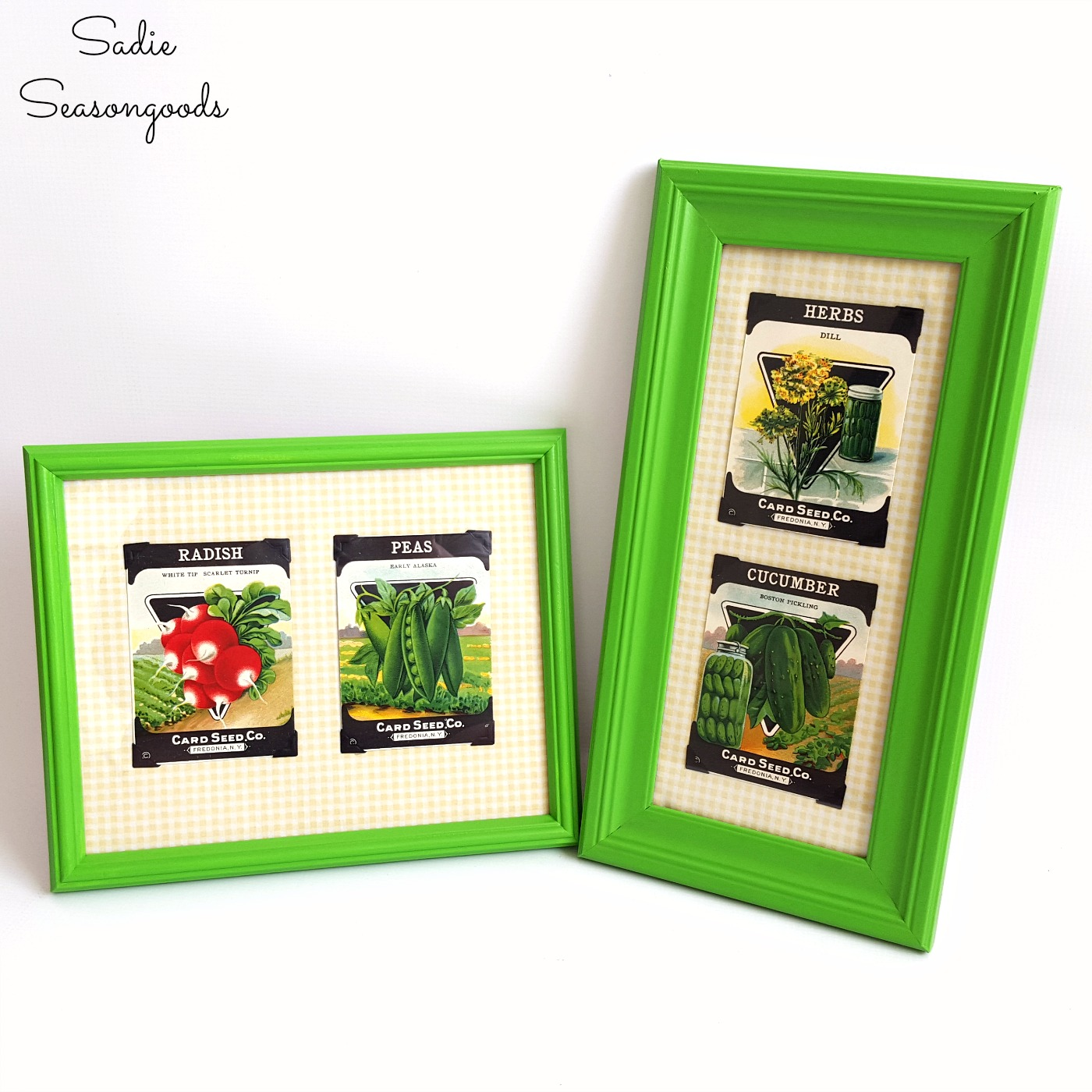 How to decorate a country kitchen or farmhouse kitchen with picture frame ideas using vintage seed packets by Sadie Seasongoods / www.sadieseasongoods.com