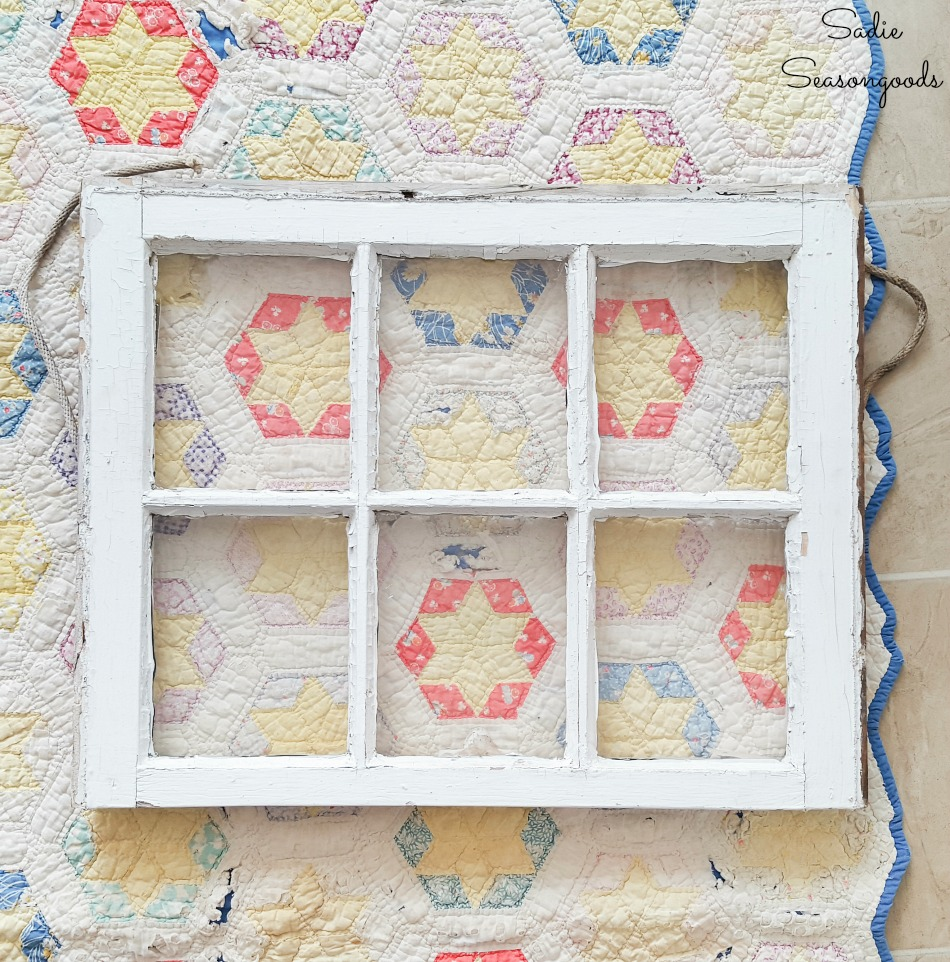 How to display a quilt in an antique window for country decor