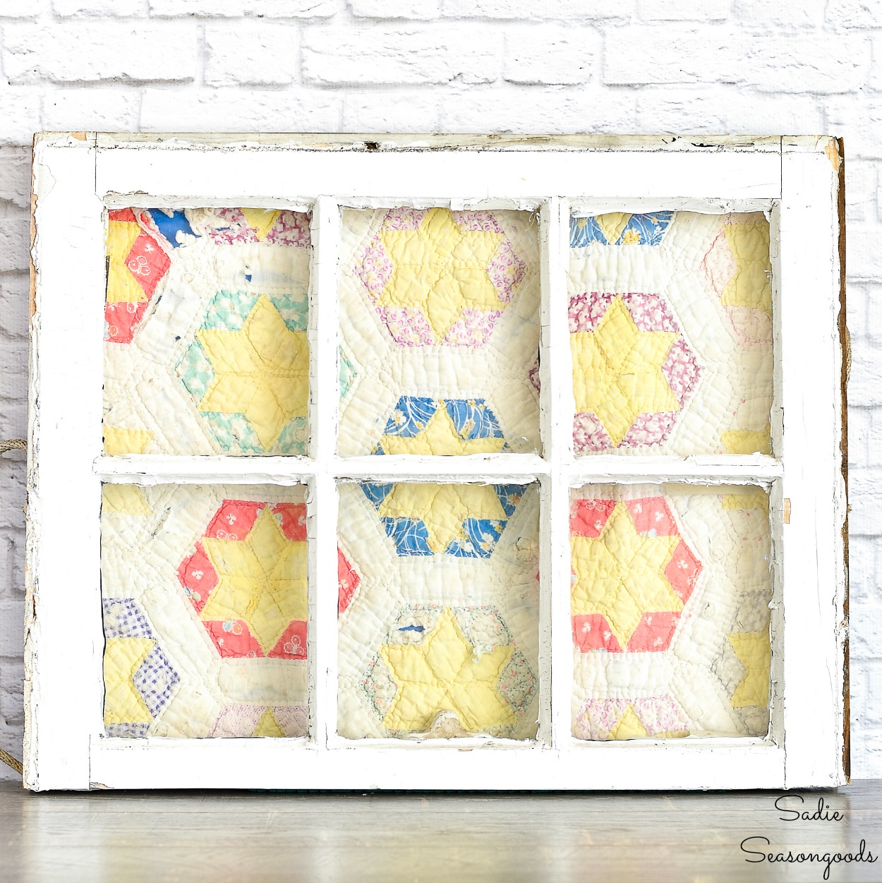 Upcycling a Vintage Window as a Quilt Frame for an Antique Quilt