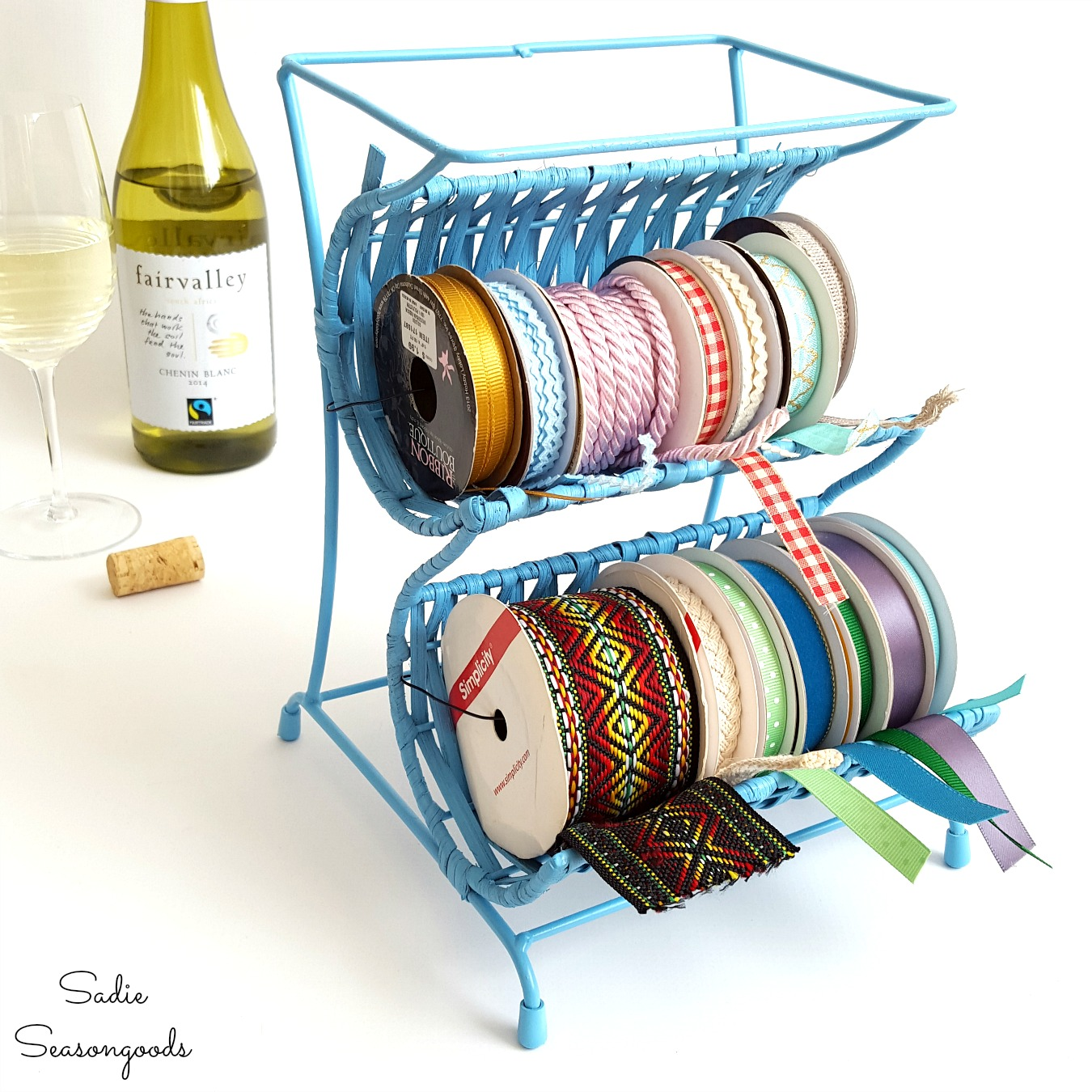 Wine Bottle Holder Upcycled into Ribbon Rack