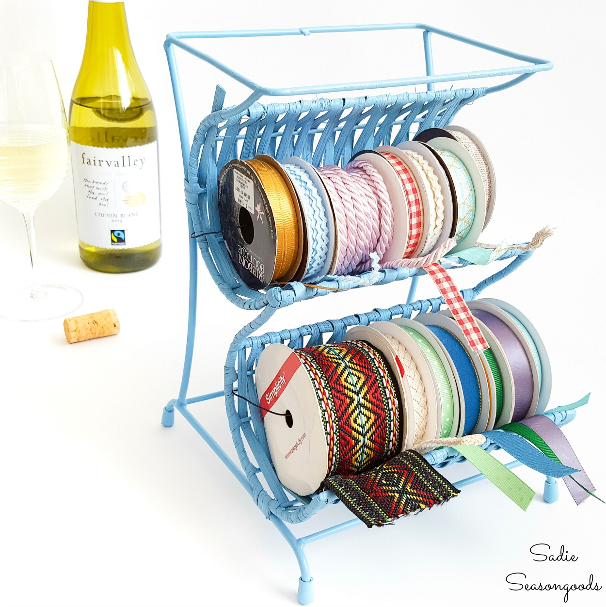 Upcycling a Countertop Wine Rack into a Ribbon Rack