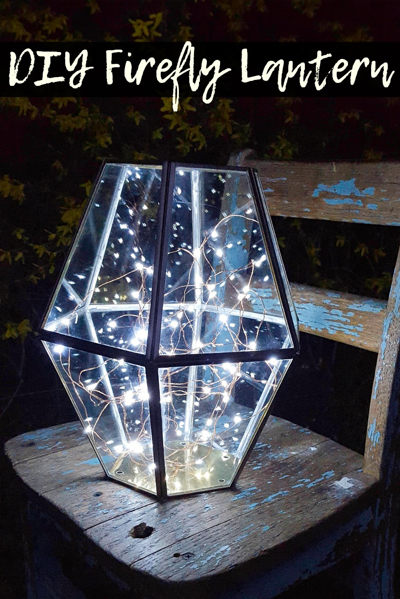 Upcycled lighting as a porch lantern with firefly lights