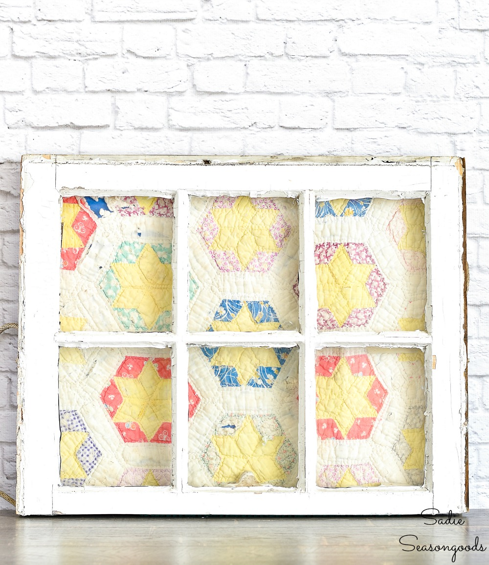 Upcycling a vintage window as a quilt frame for primitive decor