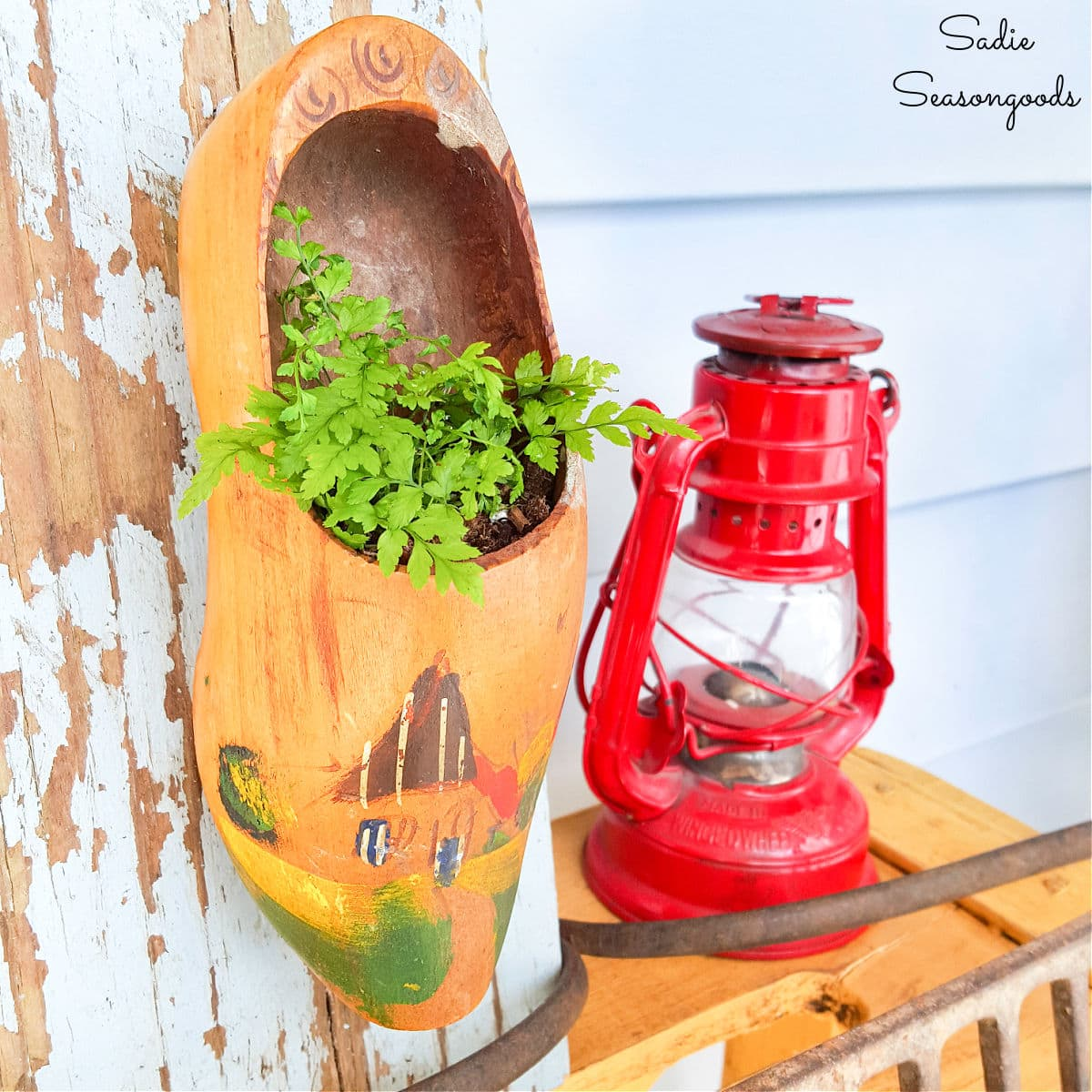 Dutch Wooden Clogs as Upcycled Planters