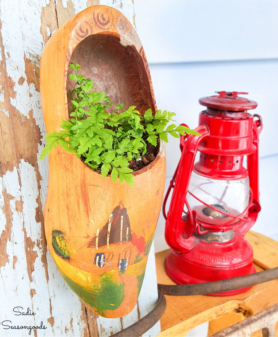 Dutch wooden shoes as upcycled planters