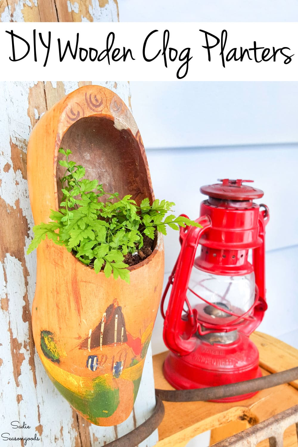 Upcycled planters from Dutch wooden clogs