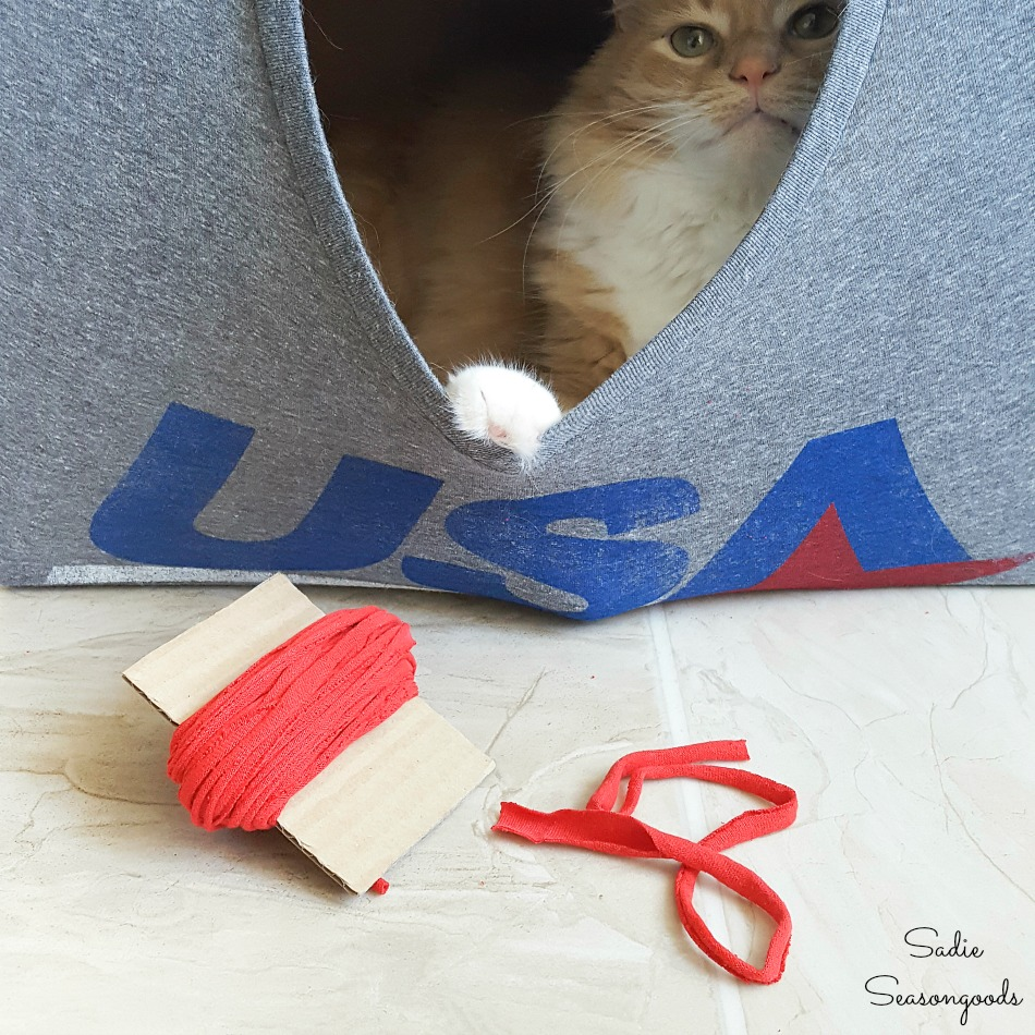 DIY cat cave and t-shirt yarn for cheap cat toys