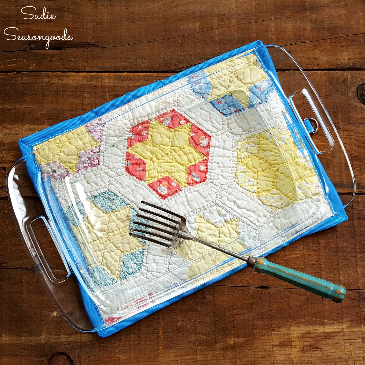 Potholder or Kitchen Hot Pad for a Baking Dish Made from Country Quilts