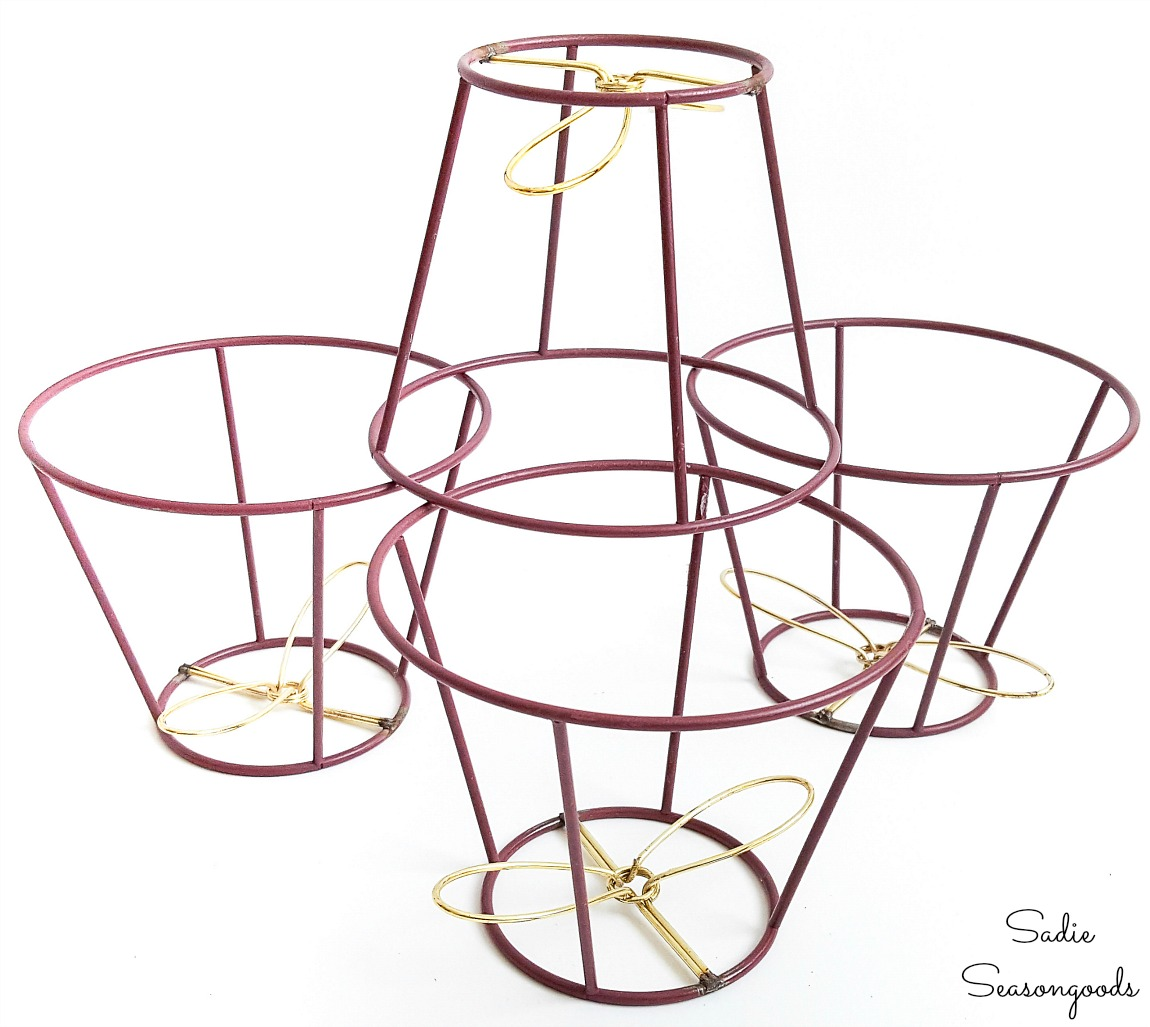 Lampshade frames that will be used as vertical garden planters for herbs