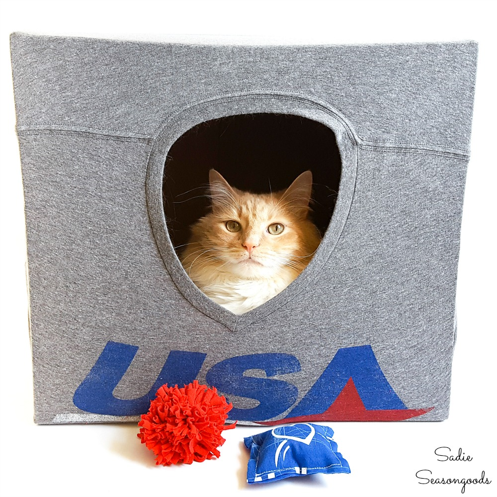 Repurposing T-Shirts into a DIY Cat Cave and Handmade Cat Toys