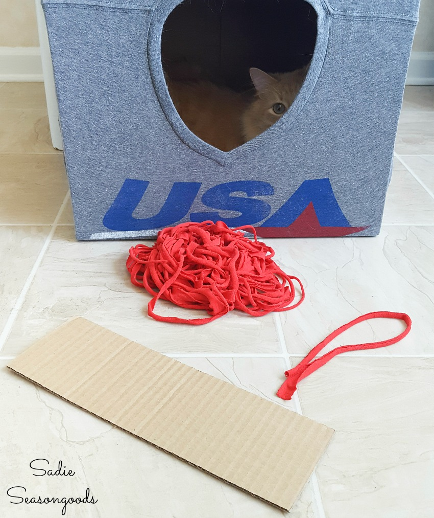 T-shirt yarn for catnip toys and cat toy ball