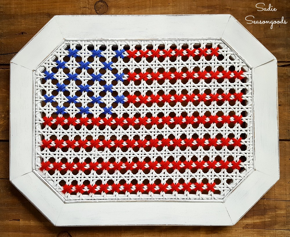 Trash to Treasure – American Flag Wall Art from a Broken Table with Cane Webbing