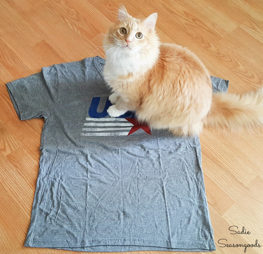 USA t-shirt from Tipsy Elves to be used for a DIY cat cave
