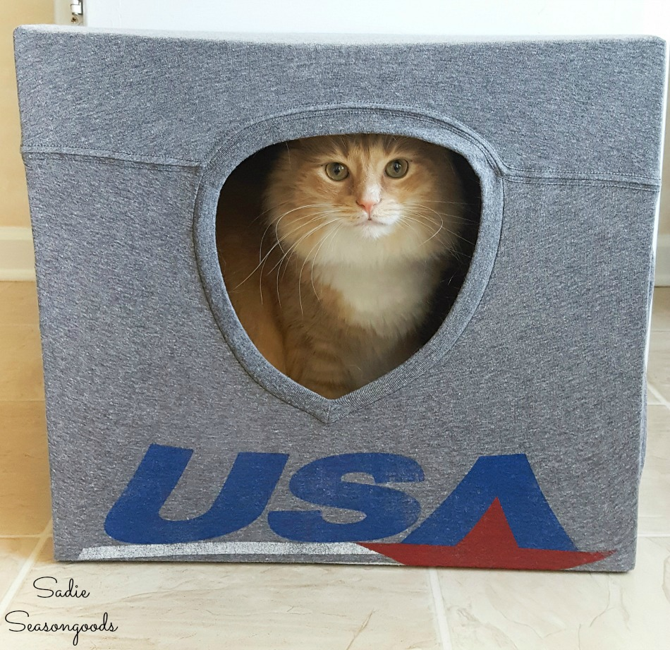 Upcycling t-shirts and a cardboard box into a pet tent
