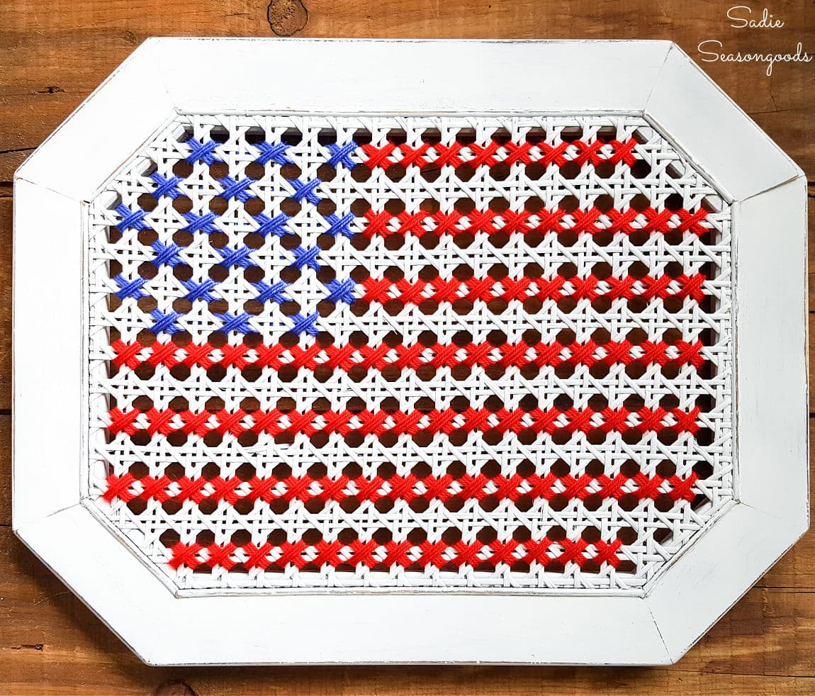 American Flag Cross Stitch on a Cane Side Table