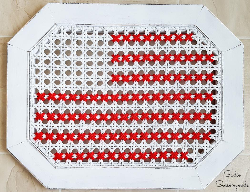 american flag cross stitch with yarn