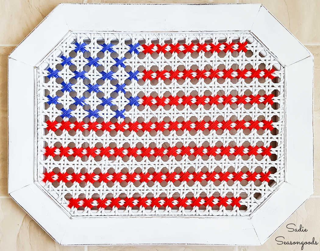 american flag decor in yarn cross stitch