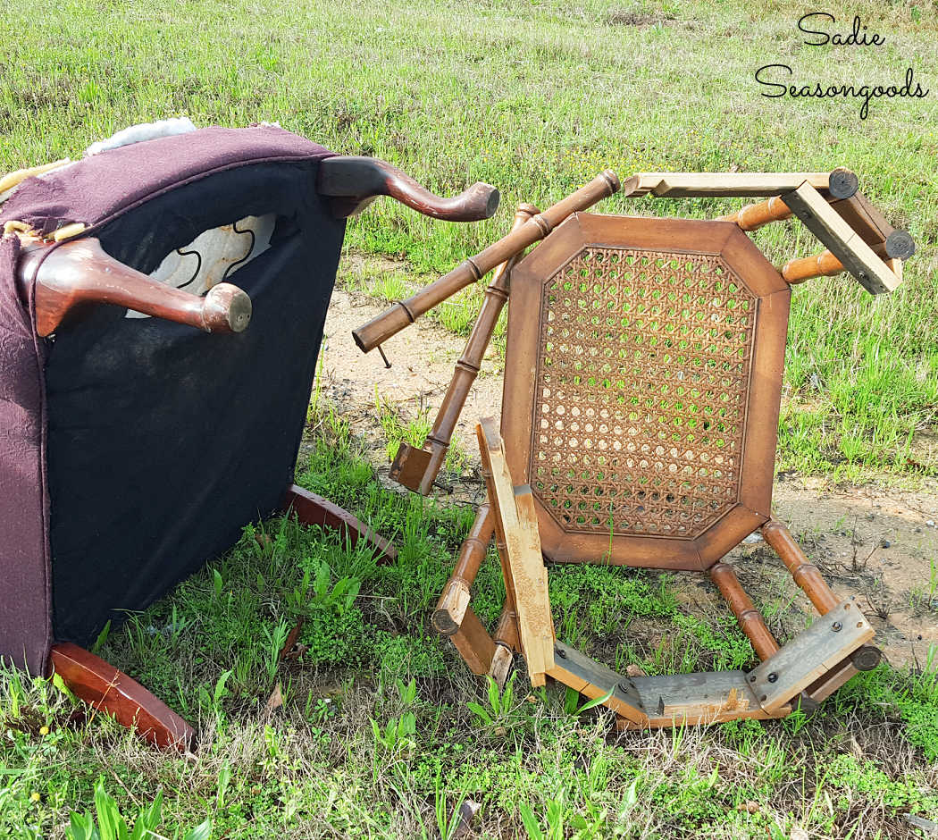 cane side table on side of the road