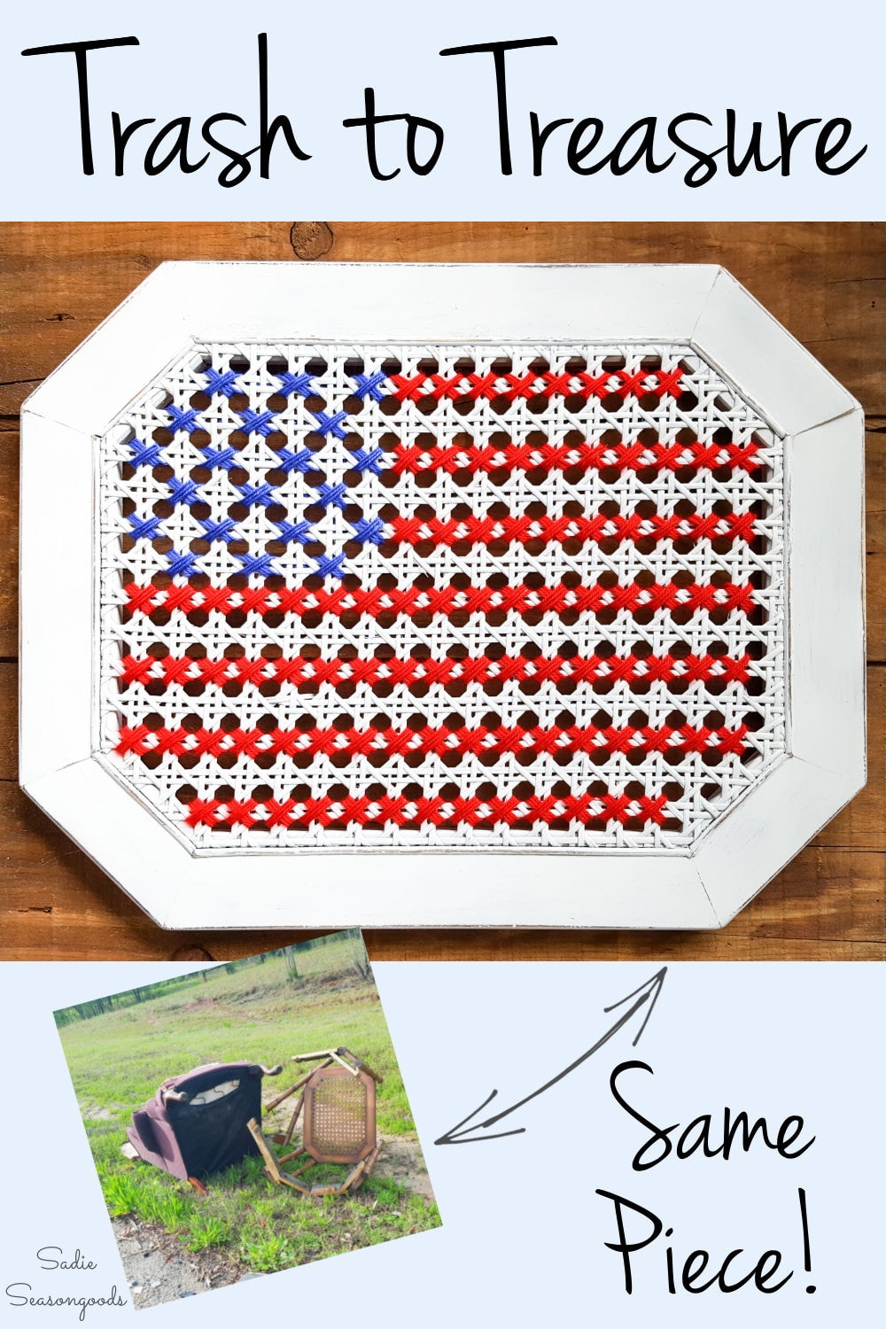 cross stitching the American flag on cane