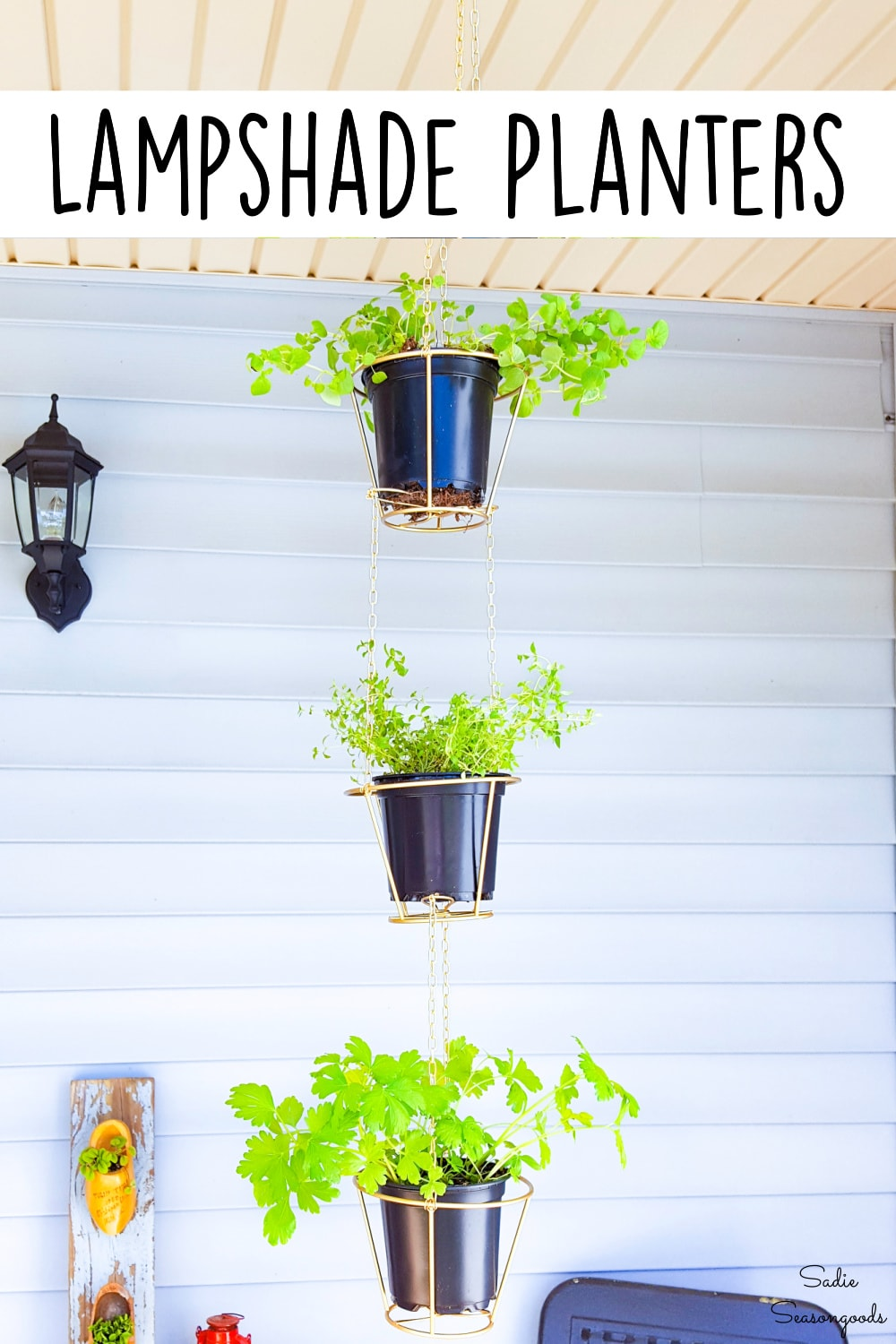 hanging baskets from wire lampshades