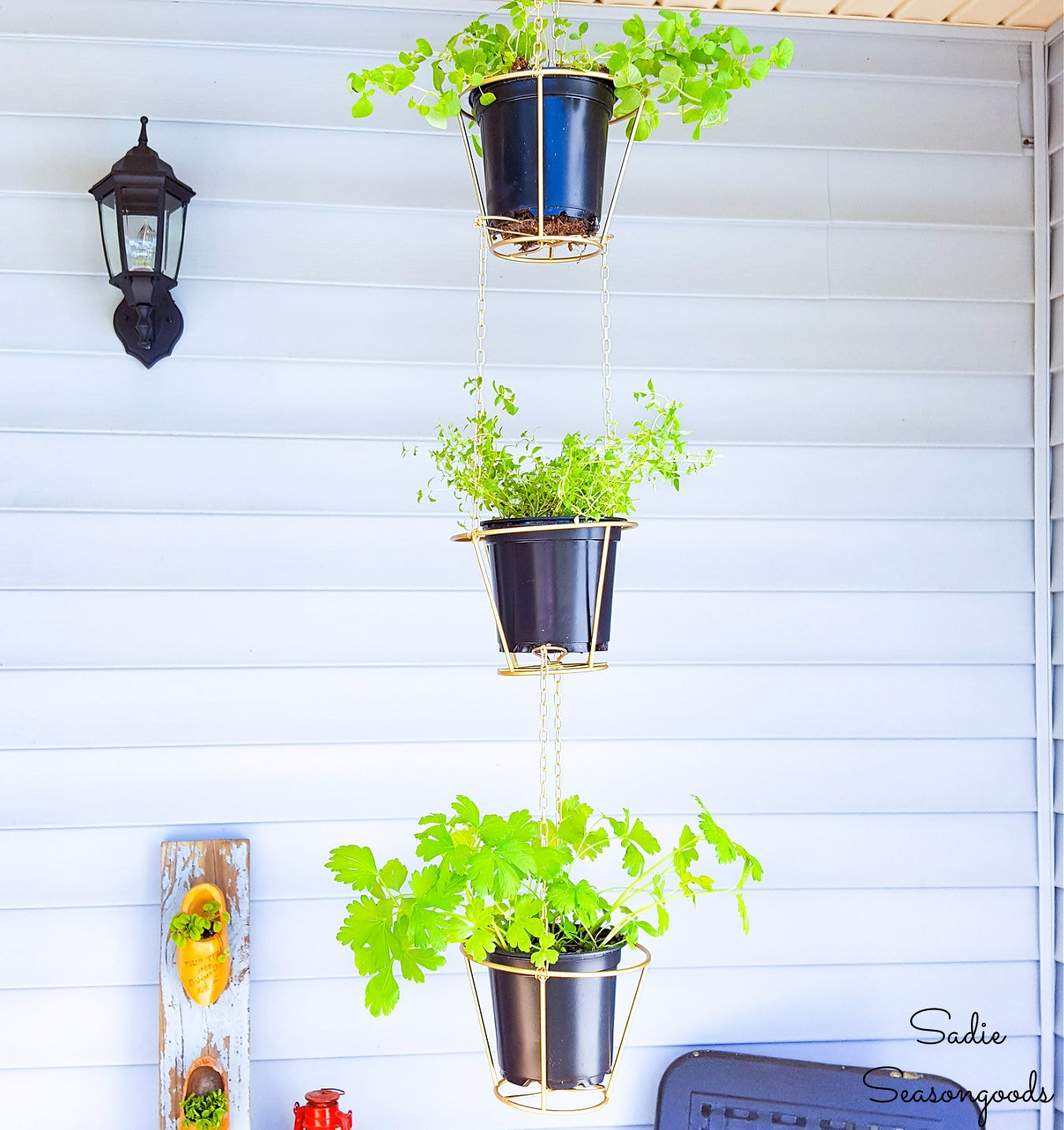 Hanging Herb Baskets from Lampshade Frames