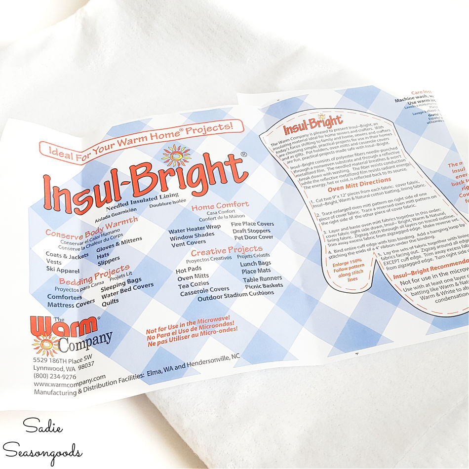 insul bright for making a quilted hot pad