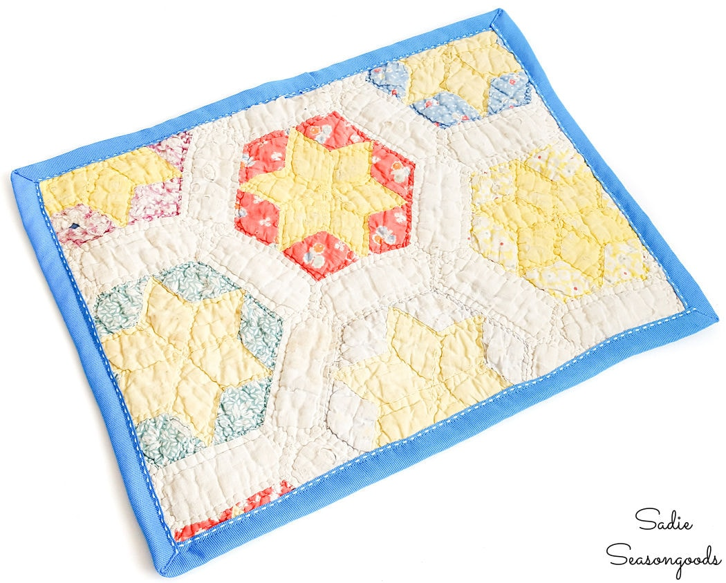 making a hot pad from a vintage quilt
