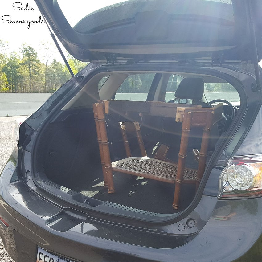 picking up furniture from the side of the road